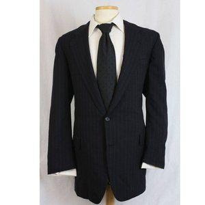 Vtg Hickey Freeman Wool Navy Pinstripe Blazer